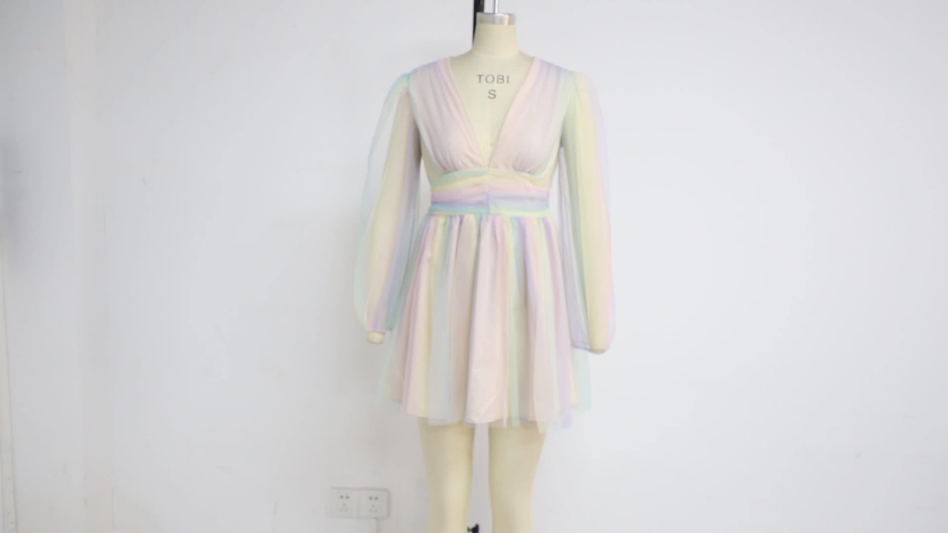 Weixin Deep V Iridescent High Waist Layered Translucent Womens Clothing Custom Design Mini Dresses