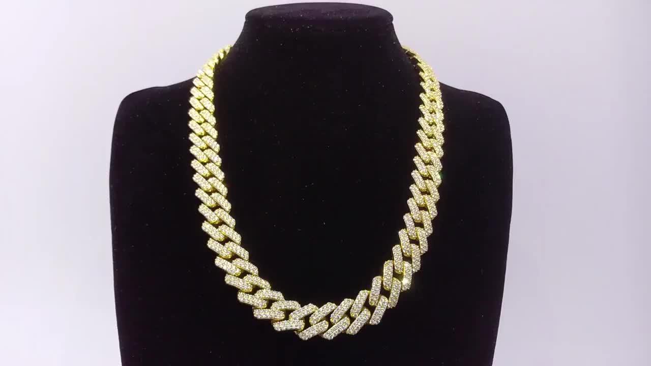 Luxury mens iced out cz pave cuban link chain diamond necklace hip hop