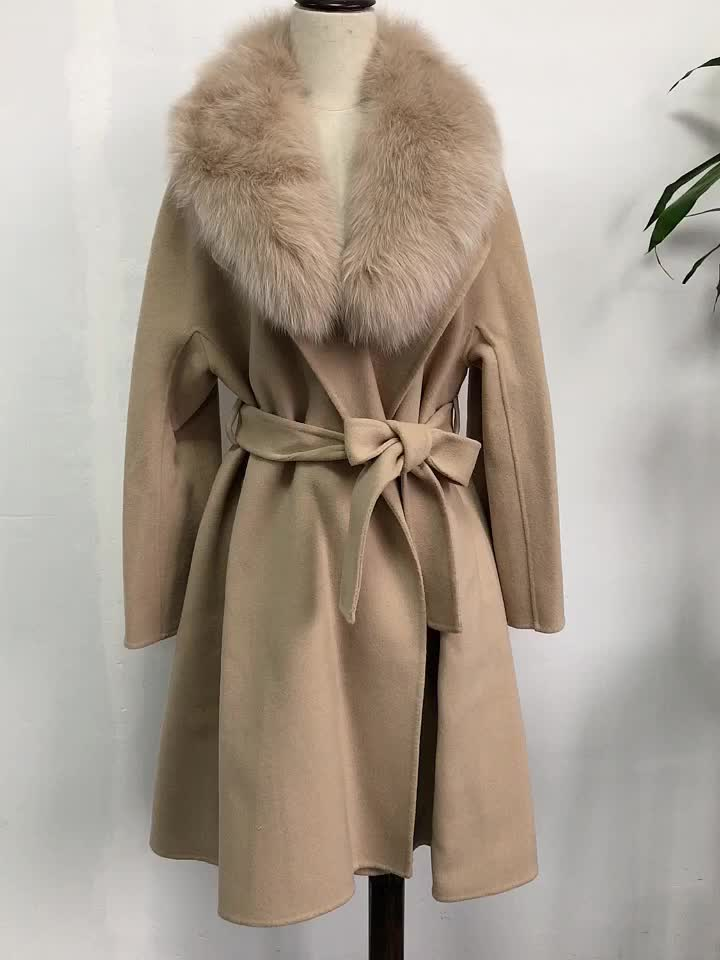 No MOQ Real Fox Fur Hat  Oversized Trench Belted Clothes Korean Cashmere Coat With Real Fox Fur Trim