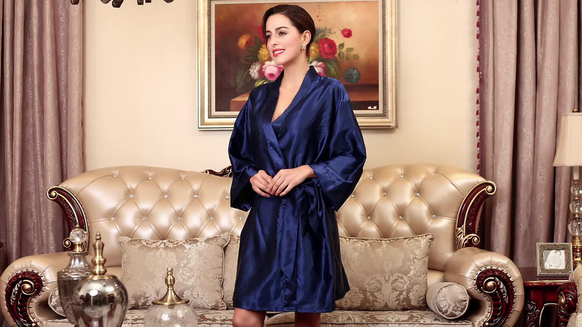 Popolari di vendita caldi solido sexy kimono di seta da sposa abito di raso abiti da damigella d'onore per il partito