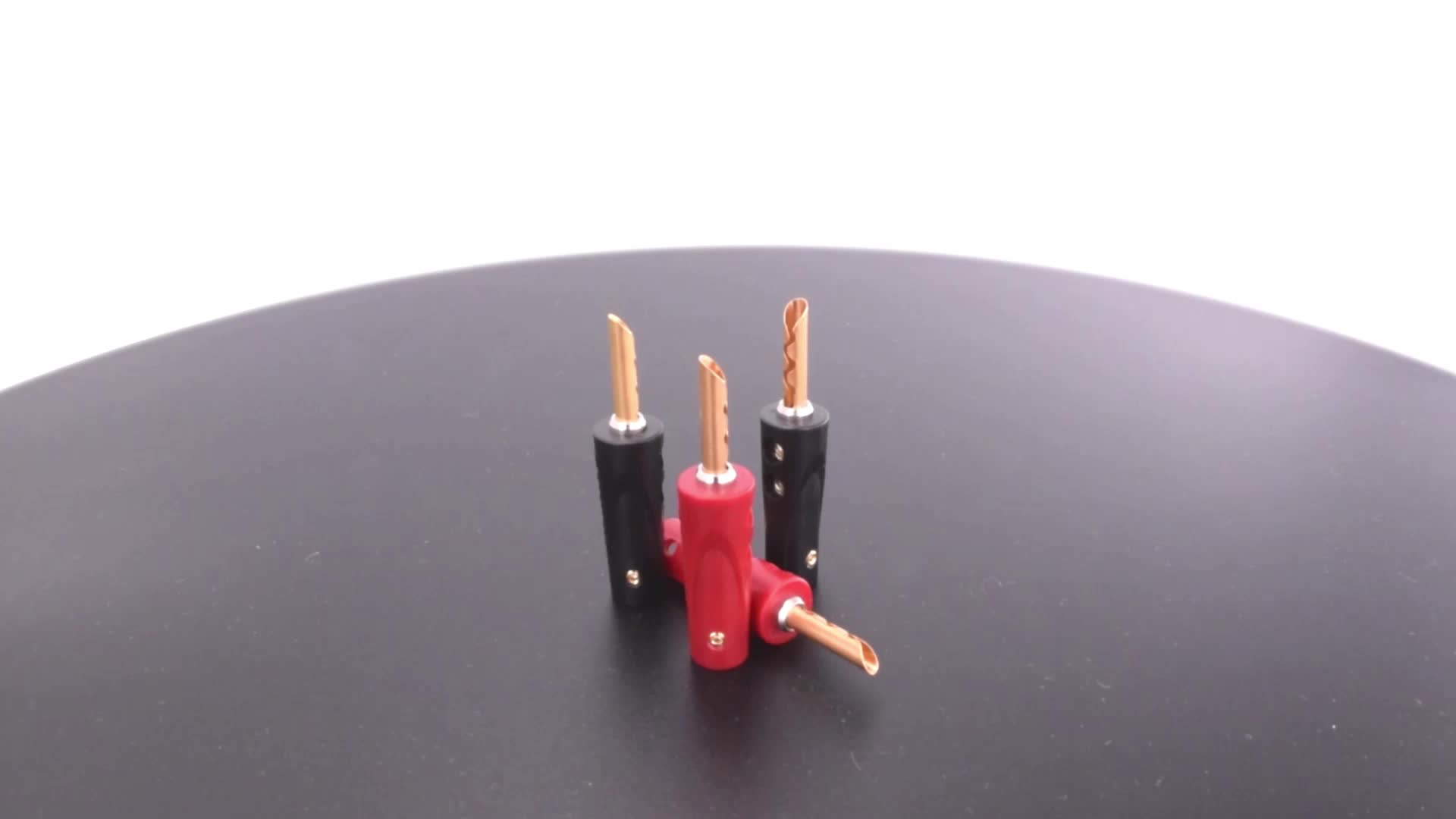 ABS molded shell brass and beryllium copper electroplated nickel-free gold body speaker connector Toothed banana plug