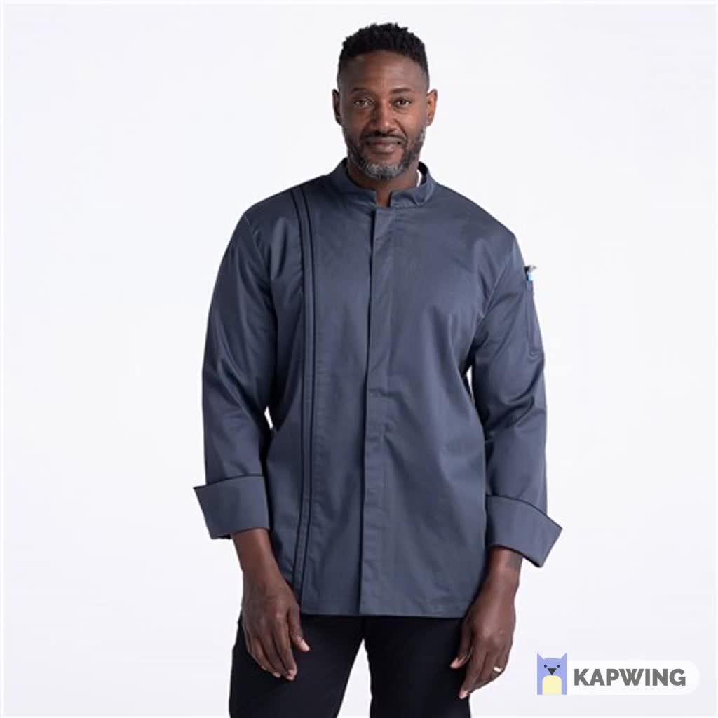 ยืดเทฟลอน Chef Coat Executive Chef Coat แมนดารินสไตล์ปุ่มซ่อนเครื่องมือกระเป๋าซ้ายแขนที่กำหนดเอง Chef เสื้อโค้ท