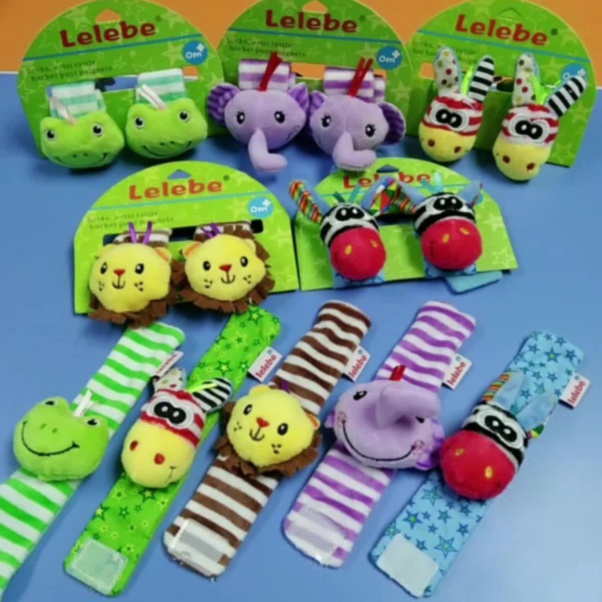 Baby Wrist Strap Hand Bell 2020 Oem Groothandel Baby Hand Bell Pluche Soft Animal Wrist Band Andere Speelgoed Baby Rammelaars