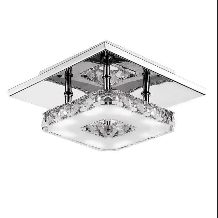 Modern Crystal LED Hallway Ceiling Light Stair Lighting Pendant Flush Lamp Stainless Steel Chandelier