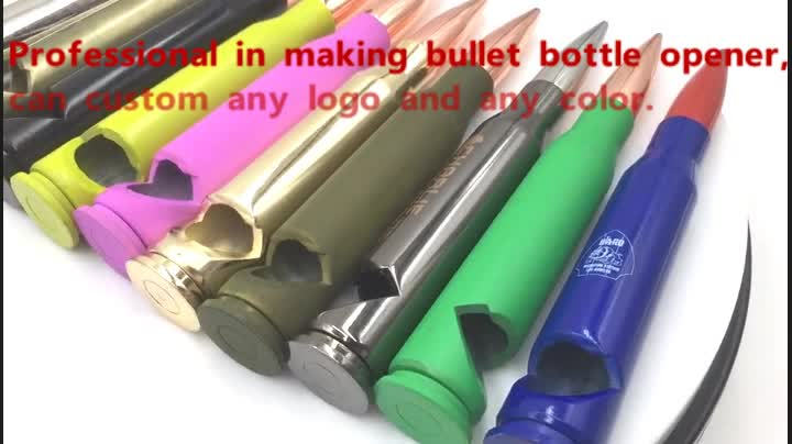 Factory custom logo metal military 50 caliber beer bullet  bottle opener