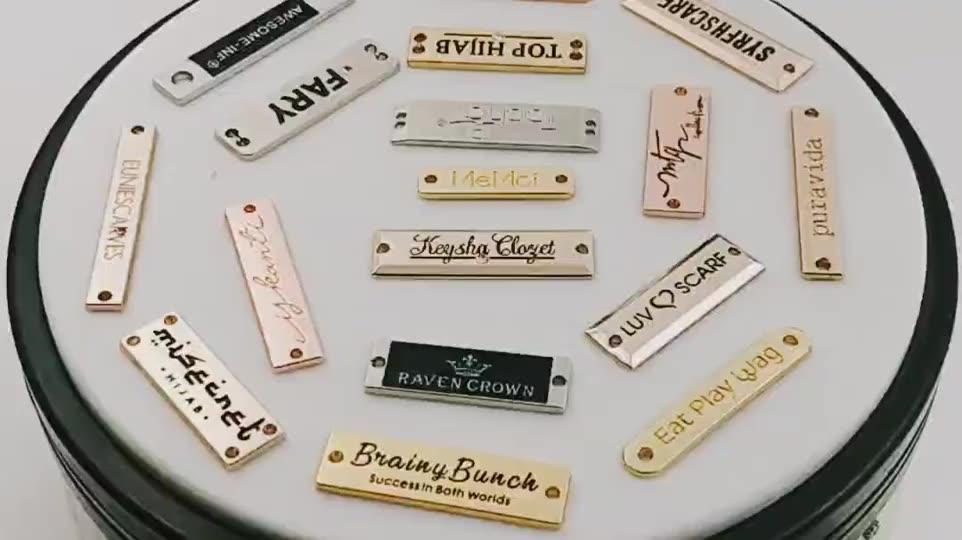 El más nuevo diseño de prendas de vestir de metal logotipo de la marca de metal de ropa etiquetas bolsa decorativa de metal etiqueta