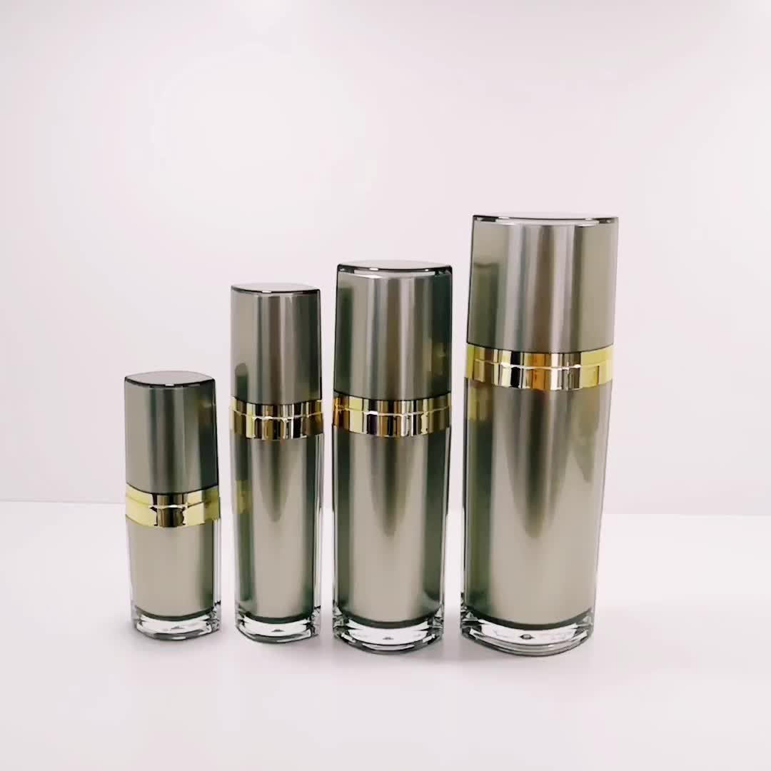 Custom grey cosmetic packaging acrylic lotion plastic bottle 15ml 30ml 60ml 120ml skin care container