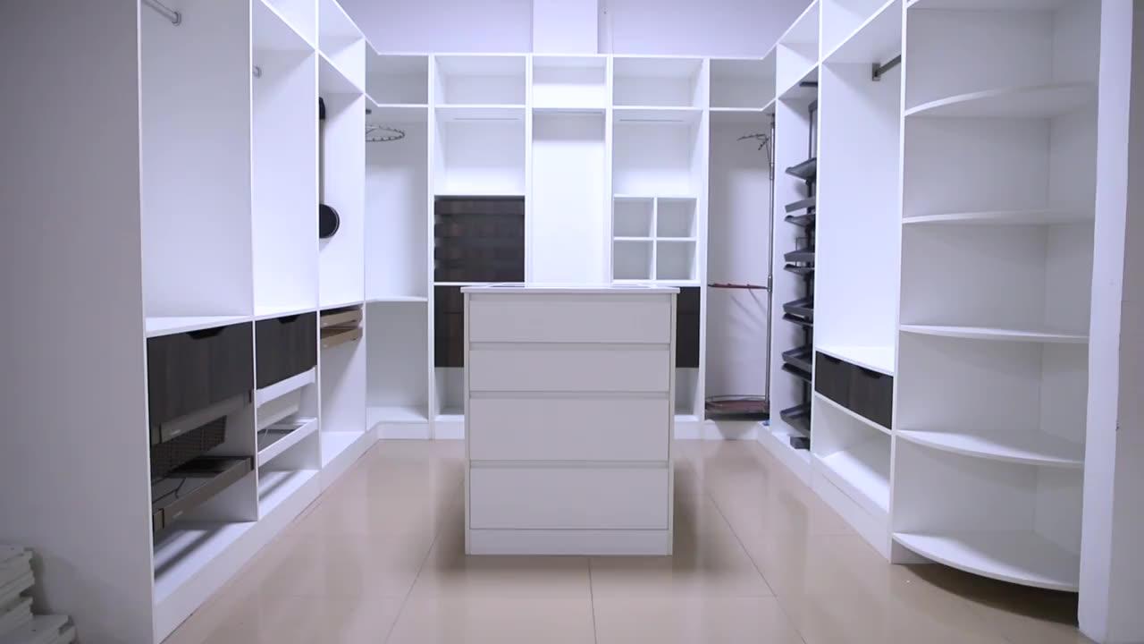 Wall Mounted Mdf White Glass Sliding Door Wardrobe Portable Wardrobe Clothes Storage Closet