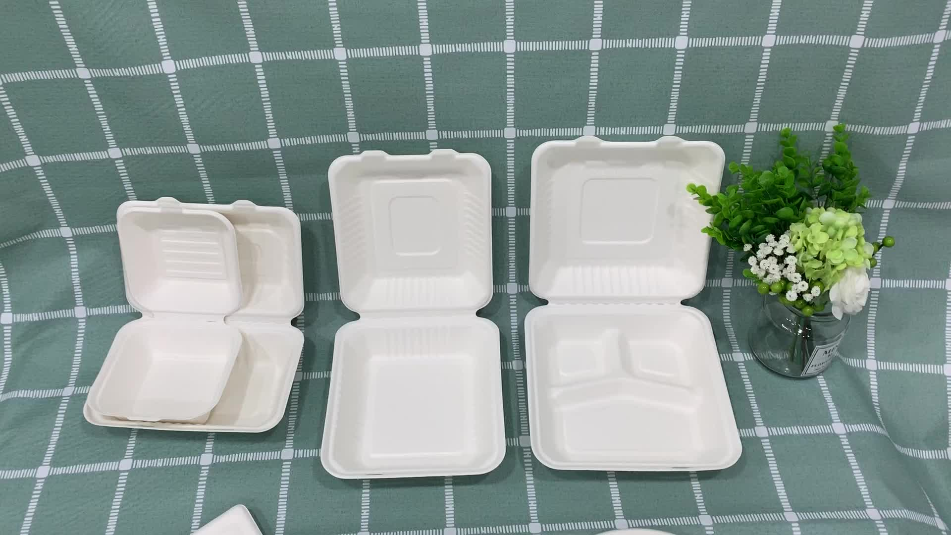 6 Inch eco friendly biodegradable bamboo take away dinnerware sets disposable sugarcane bagasse burger clamshell food box