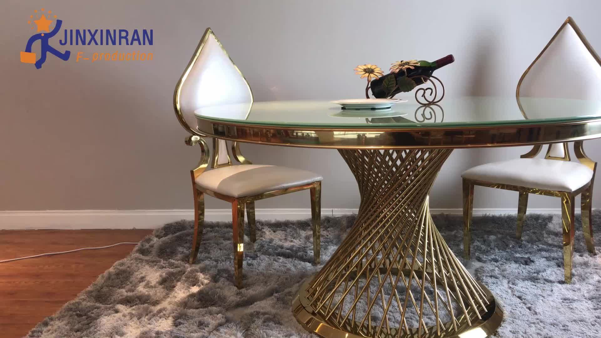 Luxury gold base round marble dining table