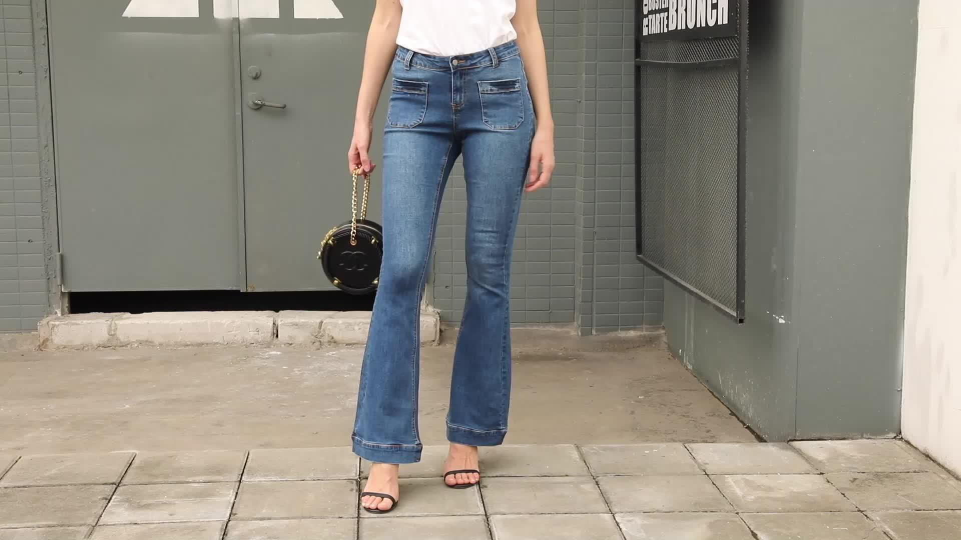 Bulk Wholesale Wash Blue Pocket Trumpet Flare Jeans
