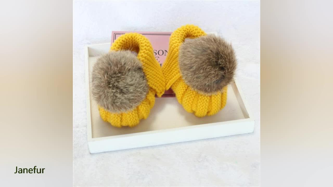 JANEFUR รองเท้าถักทารกแรกเกิดแฮนด์เมดโครเชต์เด็กสาวขนนุ่มรองเท้าที่อบอุ่นในช่วงฤดูหนาว