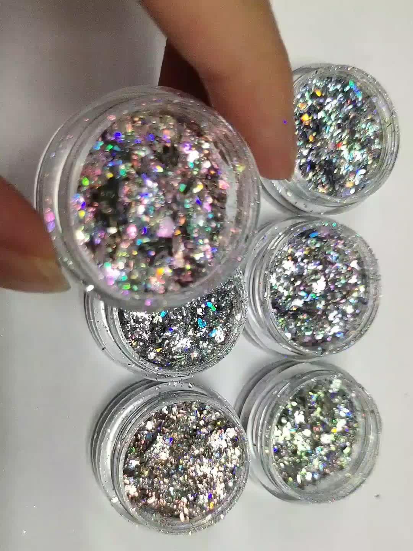 Wholesale nail art aurora powder nail polish flakes powder holographic