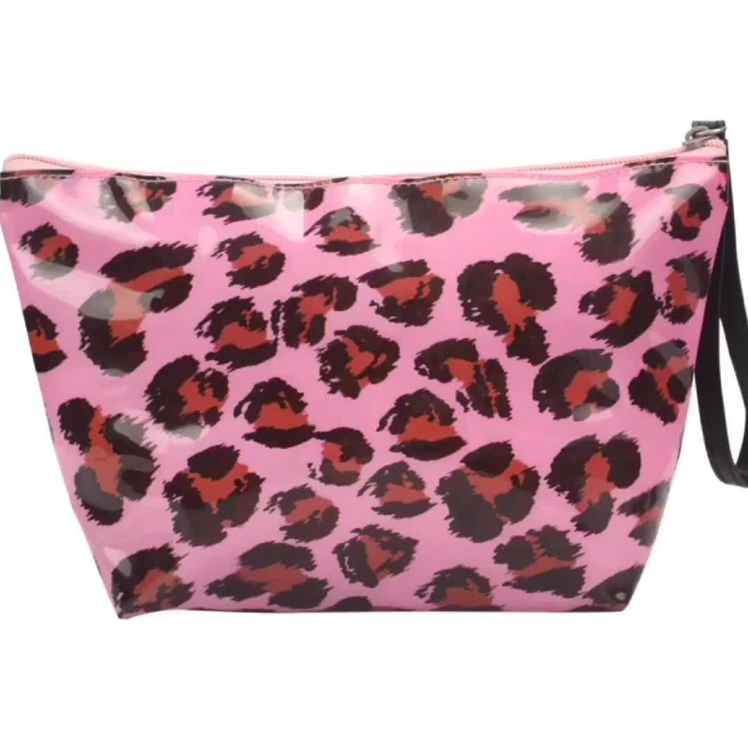 Customized Logo Pouch Bag Makeup Toliery Zipper Pouch Cosmetic Leopard Makeup Bag