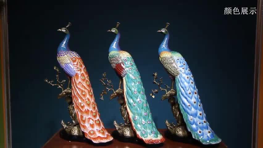 Brilhantemente Coloridos Pintados À Mão Porcelana e Cobre Antigo Ornamental decoração Arte Decorativa vívida Pavão (BY08-D10001)