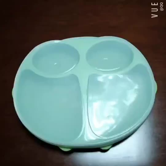 Fashion design Owl Shape Silicone Kids Toddler Feeding Plate Dishwasher and Microwave Safe BPA Free Baby Suction Plate