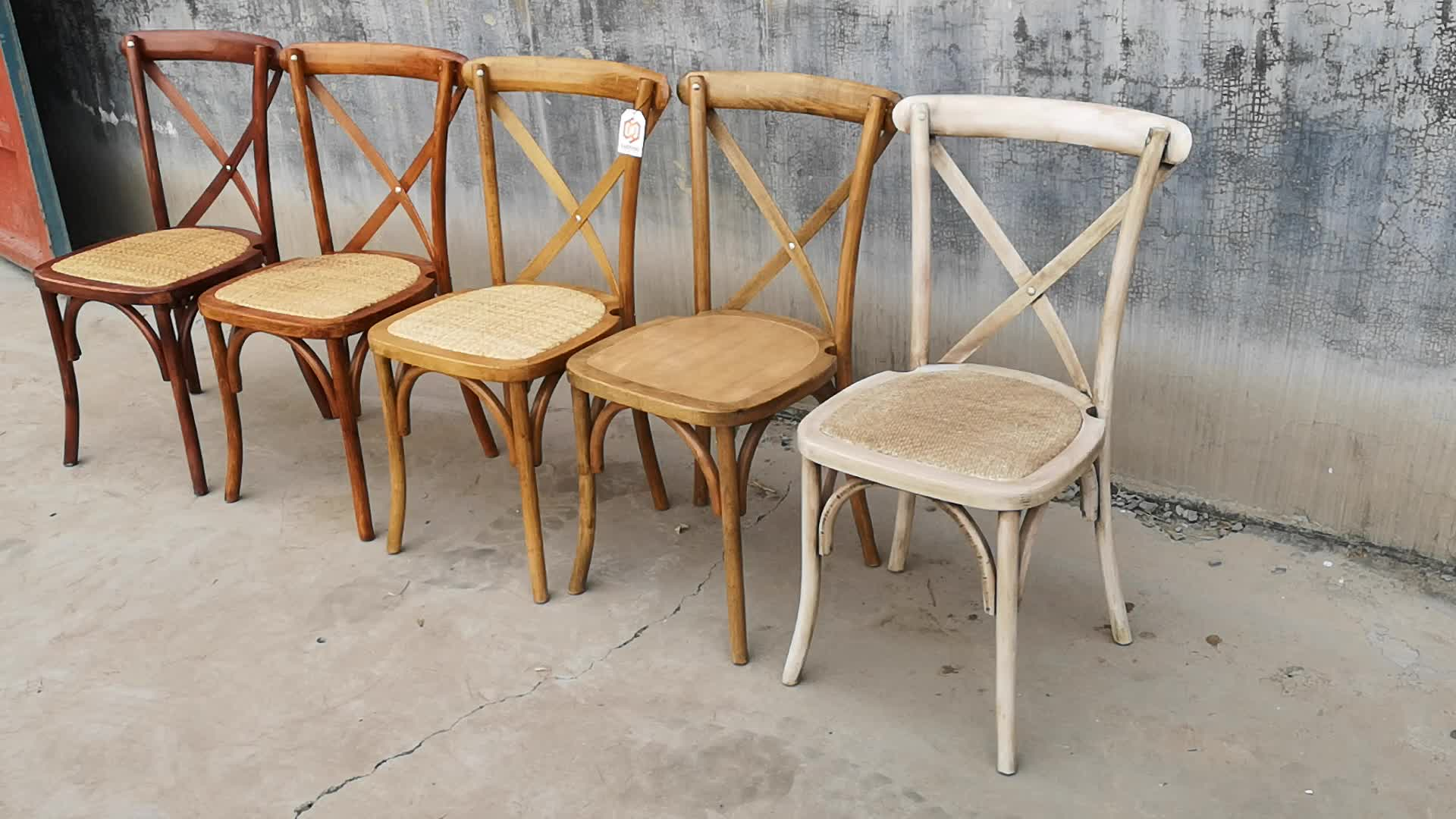 Professional Design Wedding Decorations Stackable Wood Cross Back Iron Chair