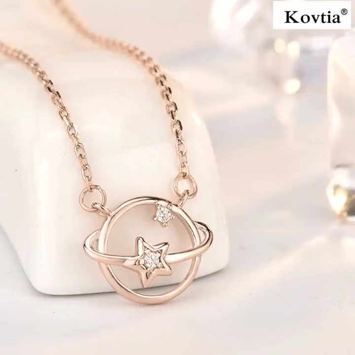 2019 Fashion S925 Sterling Silver Universe Celestial Body Pendant 18K Gold Chain Clavicle Necklace Womens