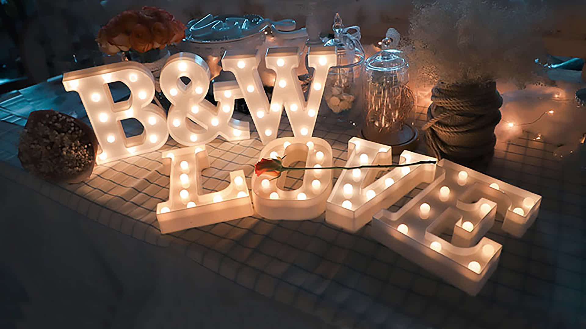 3D White Marquee Lamp Sign 26 Alphabet Light Indoor Wall Hanging LED Letter Night Light for Bedroom Wedding Birthday Party Decor