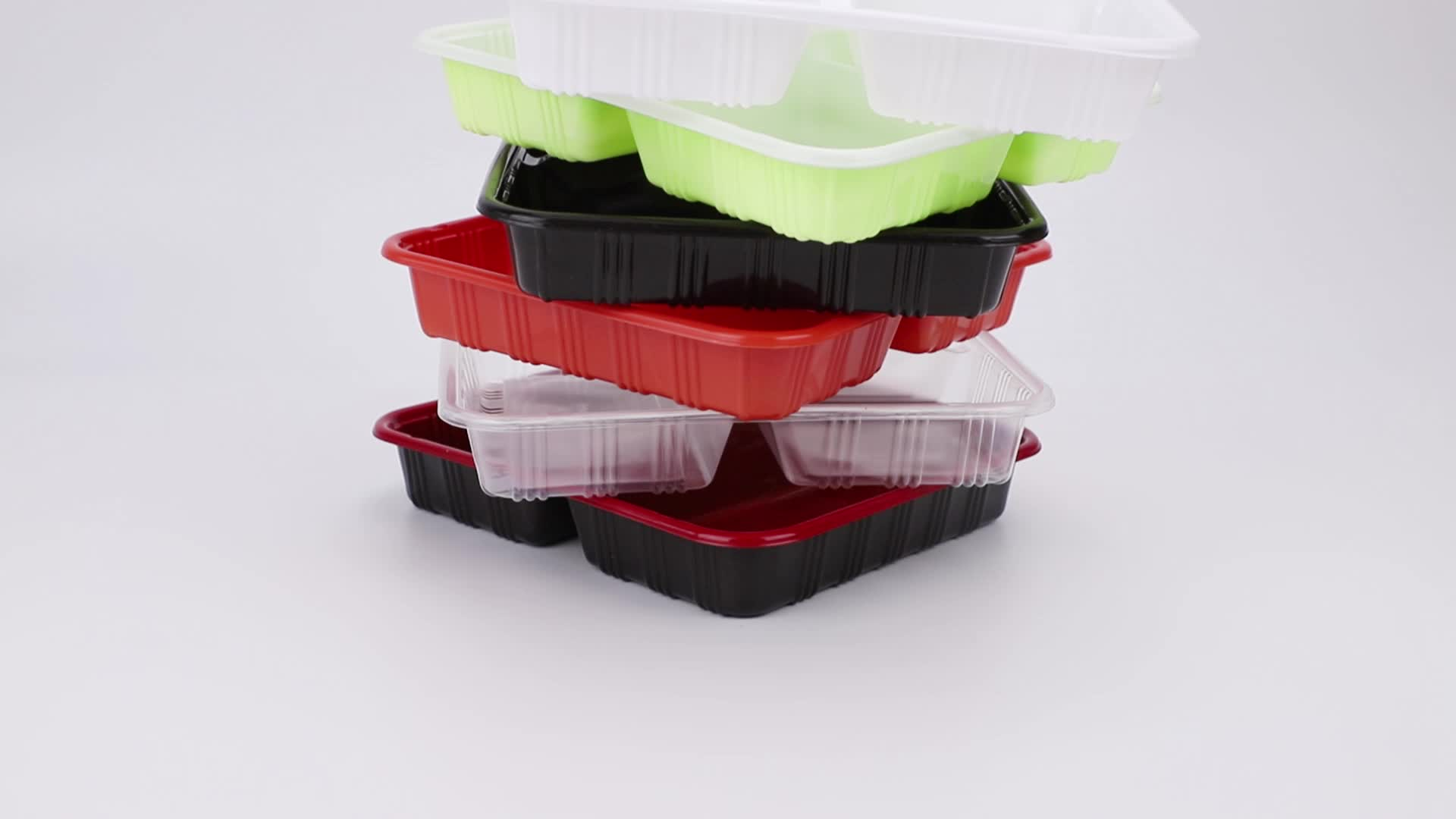 Disposable Recyclable Plastic lunch box with 2 compartment