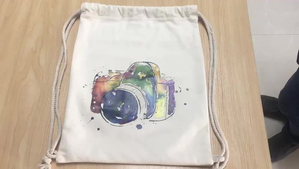 Children custom printing school cotton canvas backpack bag for promotional gifts