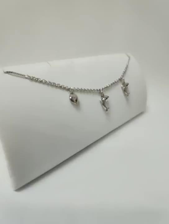 डॉल्फिन डिजाइन 18 k सफेद सोना मढ़वाया चांदी 925 स्टर्लिंग पायल श्रृंखला कस्टम फैंसी गहने आकर्षण दिल महिलाओं चांदी पायल पैर