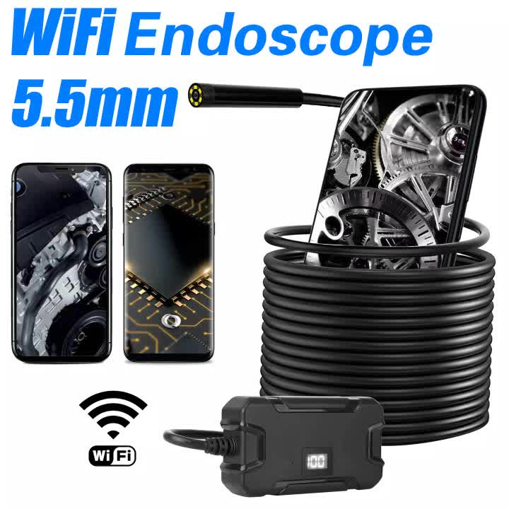 Hot selling Power Display Lens Rotation and Light brightness 1080P 5.5mm/8mm Lens Diameter Flexible WIFI camera endoscope
