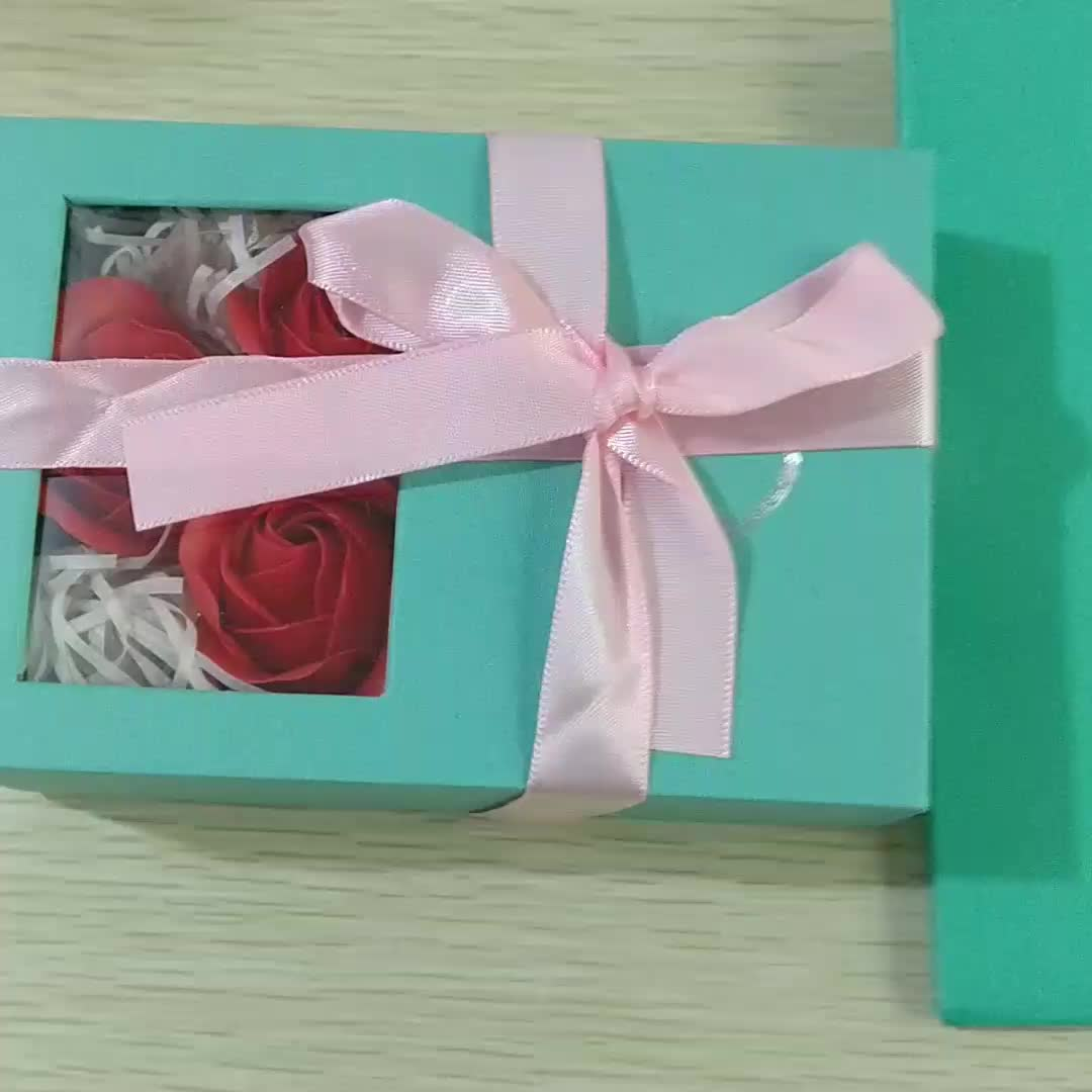 Fashion Ring Box Necklace Box Wholesale Withe Rose Flower Chinese Valentine's Day Blue Rose Gift Box