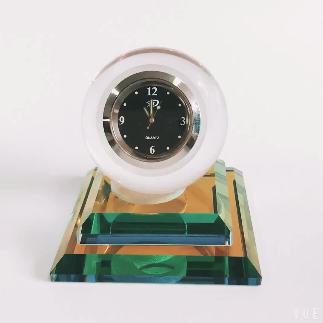 Modern style home or car decoration wedding favor crystal ball clock with base
