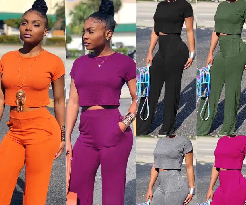 Cor sólida Verão Roupa de Duas Peças Set Mulheres Roupa Por Atacado De Alta Qualidade 2020 roupas