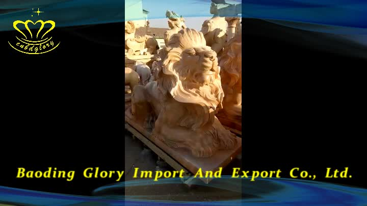 China Marble Statue Stone Carving Life Size Lion Factory