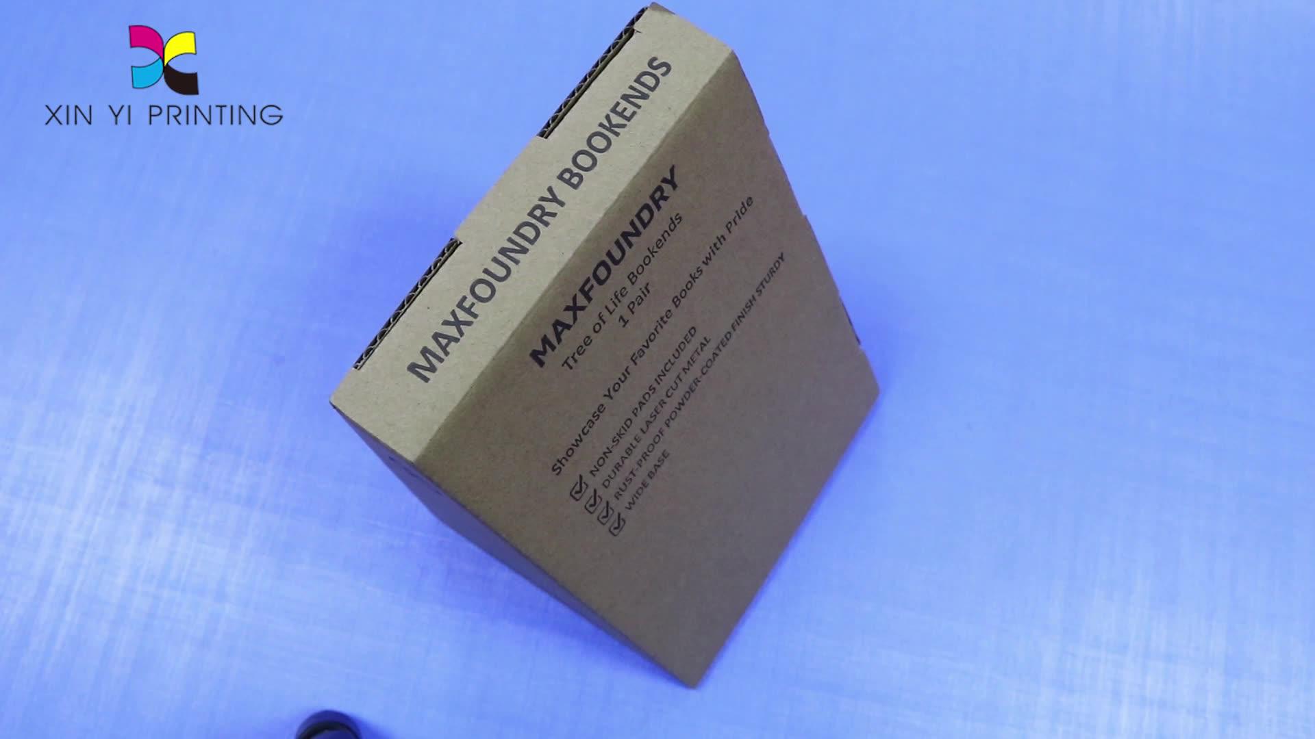 Costom Kleur Karton Aangepaste Eigen Logo Kartonnen Verpakking Dozen Gegolfd Reliëf Bruin Kraftpapier Ambachtelijke Doos