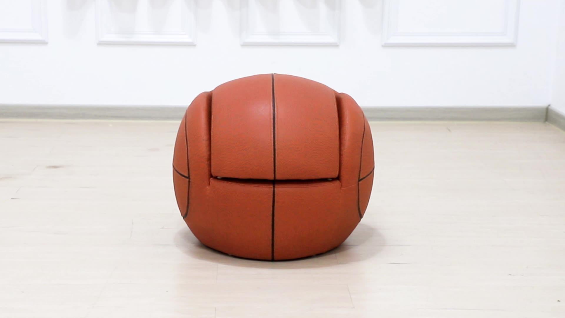 Hot Selling Amazon Bal Vorm Kinderen Sofa Meubels Basketbal Fauteuil Met Voetenbank