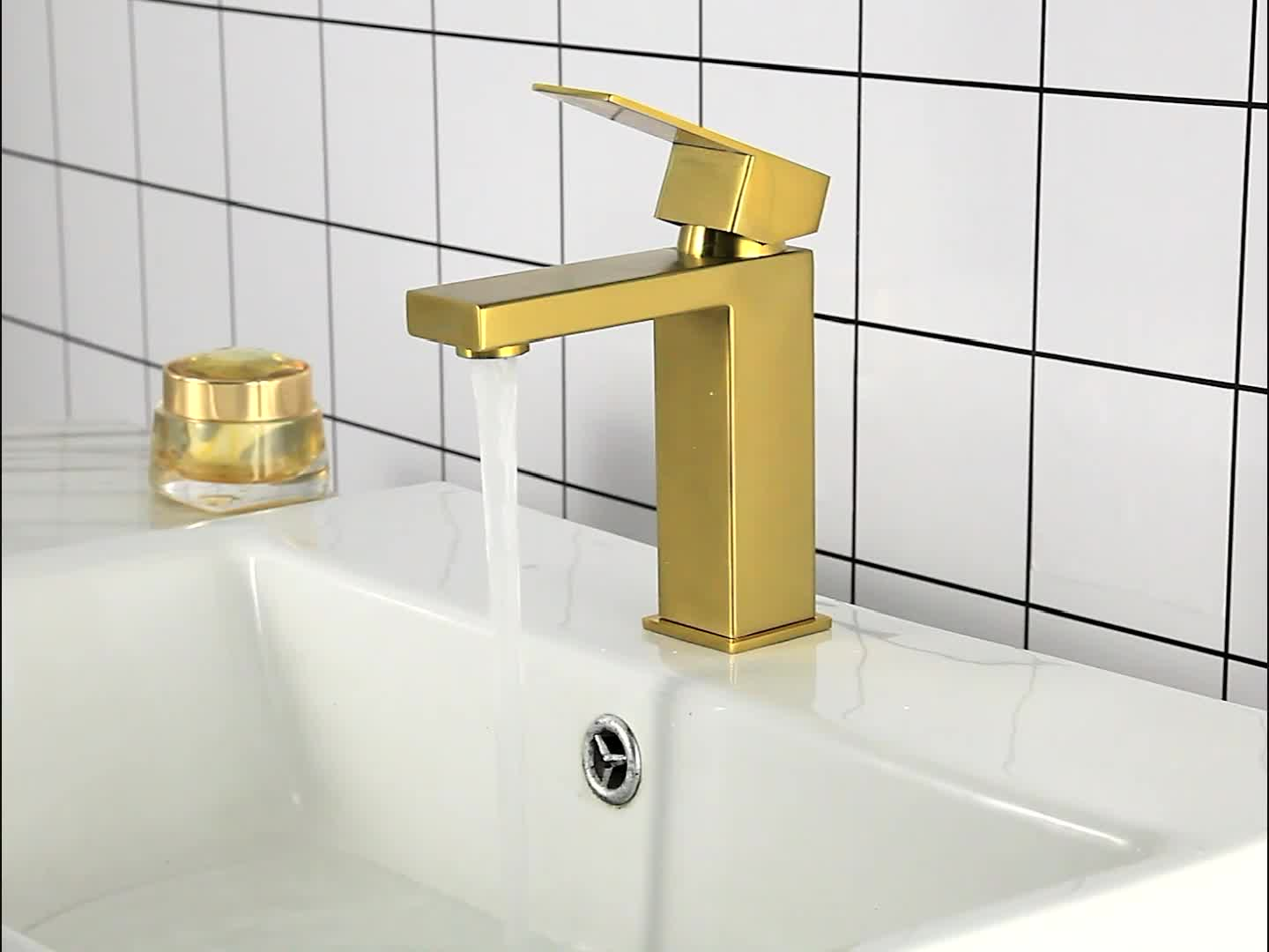304 stainless steel square brushed gold black faucet - Stainless steel bathroom fixtures ...