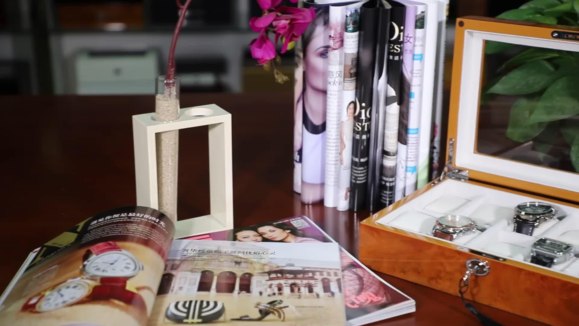 Burl Houten Handgemaakte Luxe Horloge Doos Voor 10 Horloges Opslag Kerst Mannen Gift Box Op Voorraad