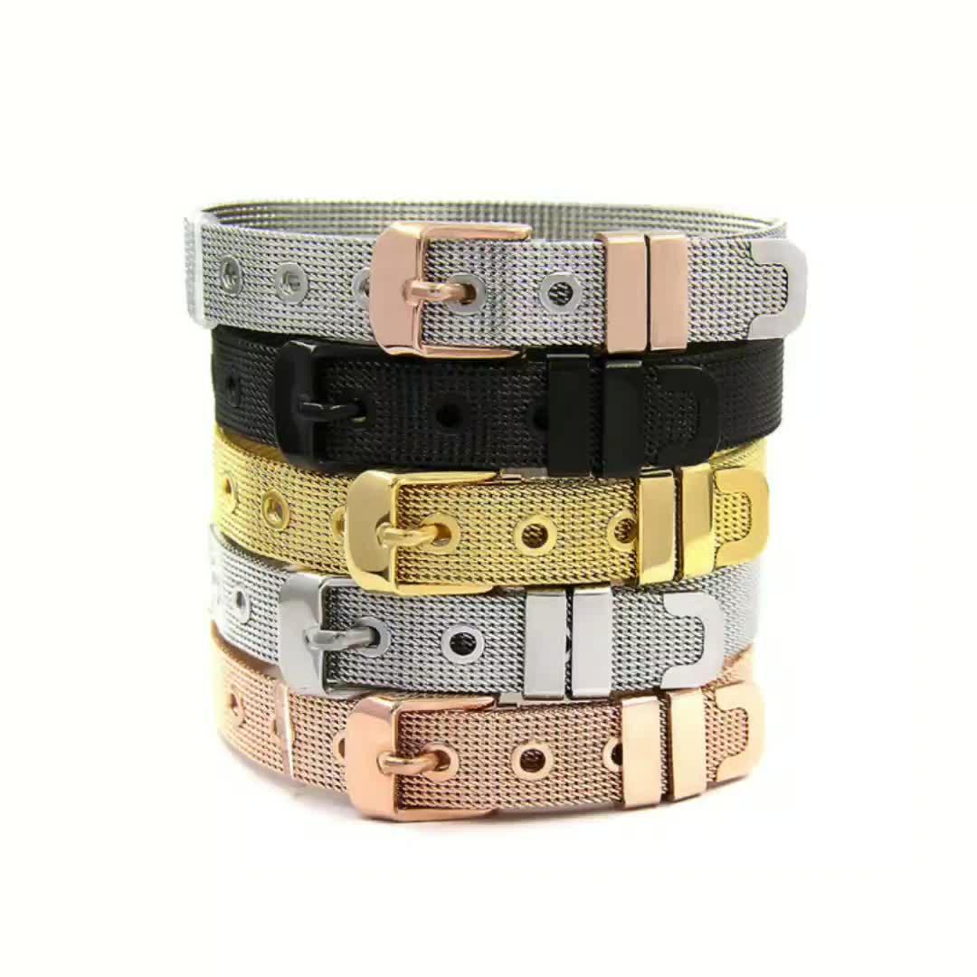 Fashion Stainless Steel Mesh Bracelet Crystal Heart Bracelets Bangles For Women Men Jewelry Best Gift