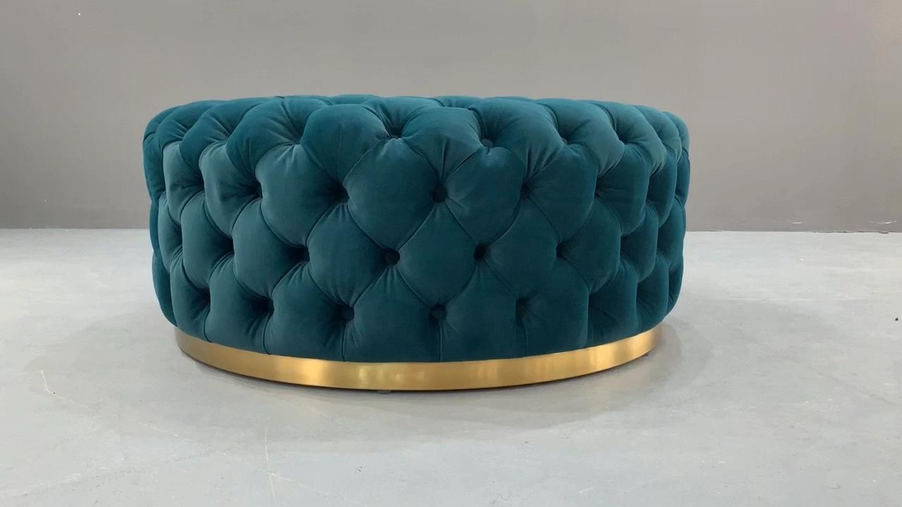 Muebles para el hogar de lujo terciopelo Teal distintos tapizado otomano PUF Hotel tienda redonda Banco asiento de tela pie taburete Decoración