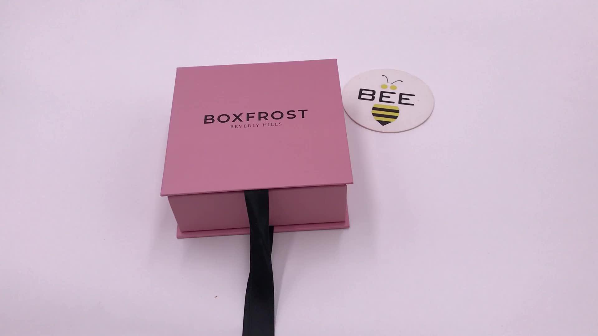 चीन आपूर्तिकर्ताओं खुदरा कस्टम लोगो मुद्रित कॉस्मेटिक पैकेजिंग बक्से कागज चुंबकीय उपहार बॉक्स के साथ रिबन