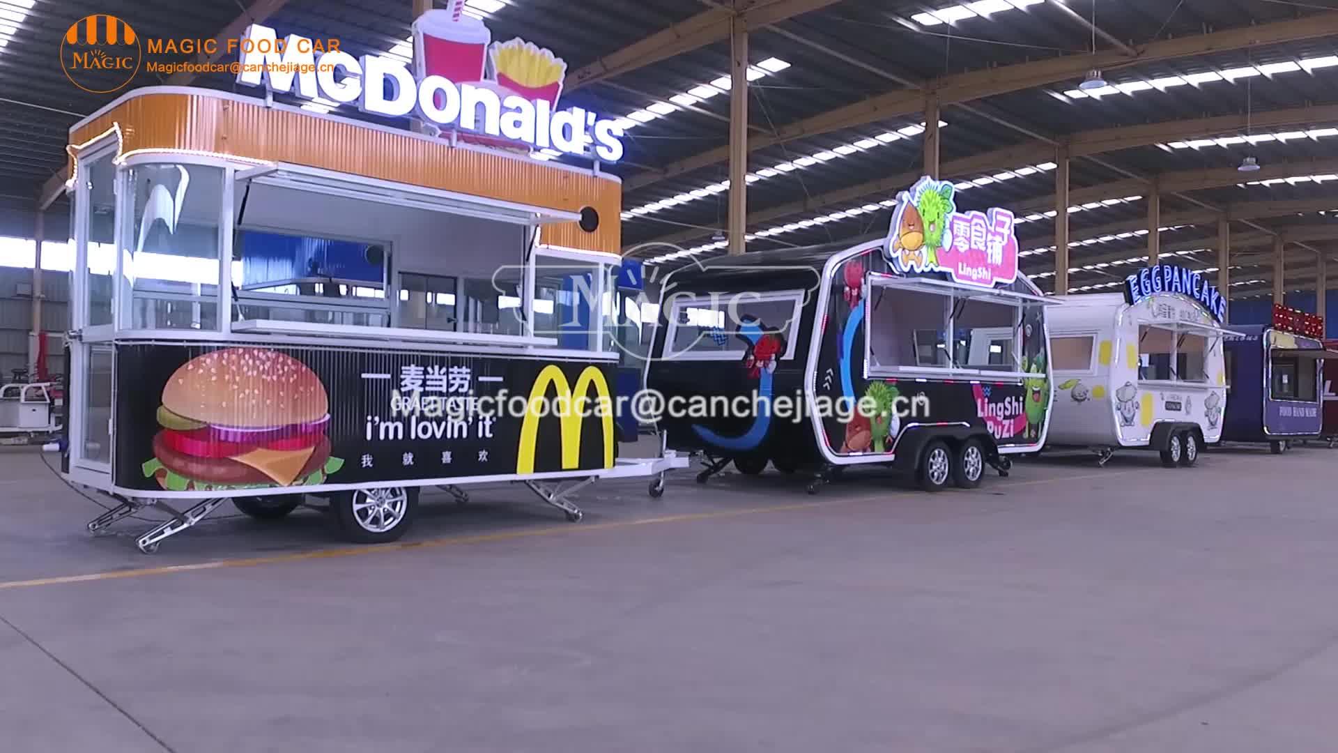 Sokak Pişirme Ekmek Tatlı Mısır Kiosk, Yemek Treyler Mobil Yemek Arabası, Tekerlekli Elektrikli Yemek Arabası