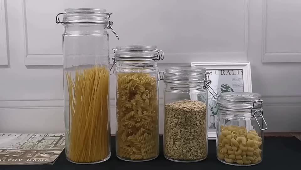 Vaso di vetro con coperchio cilindro trasparente contenitore di vetro