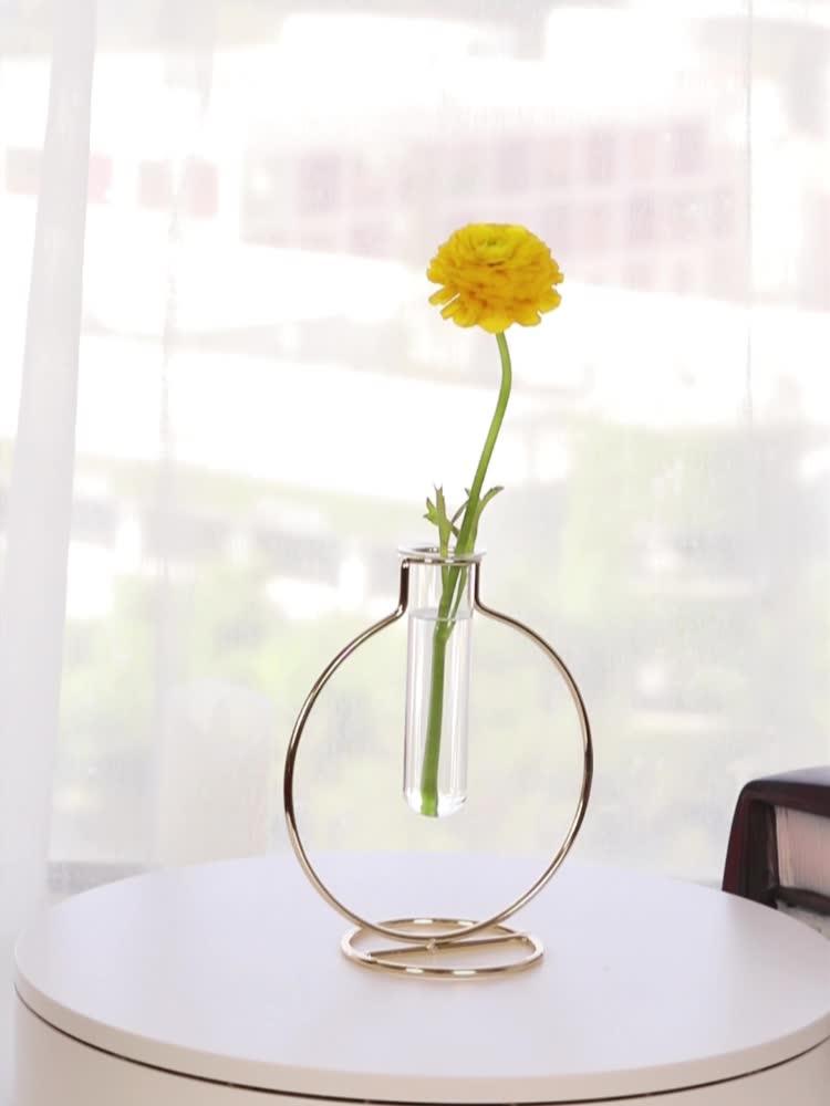 Bureau décoration tube à essai en verre fleur vase avec cadre en métal doré stand