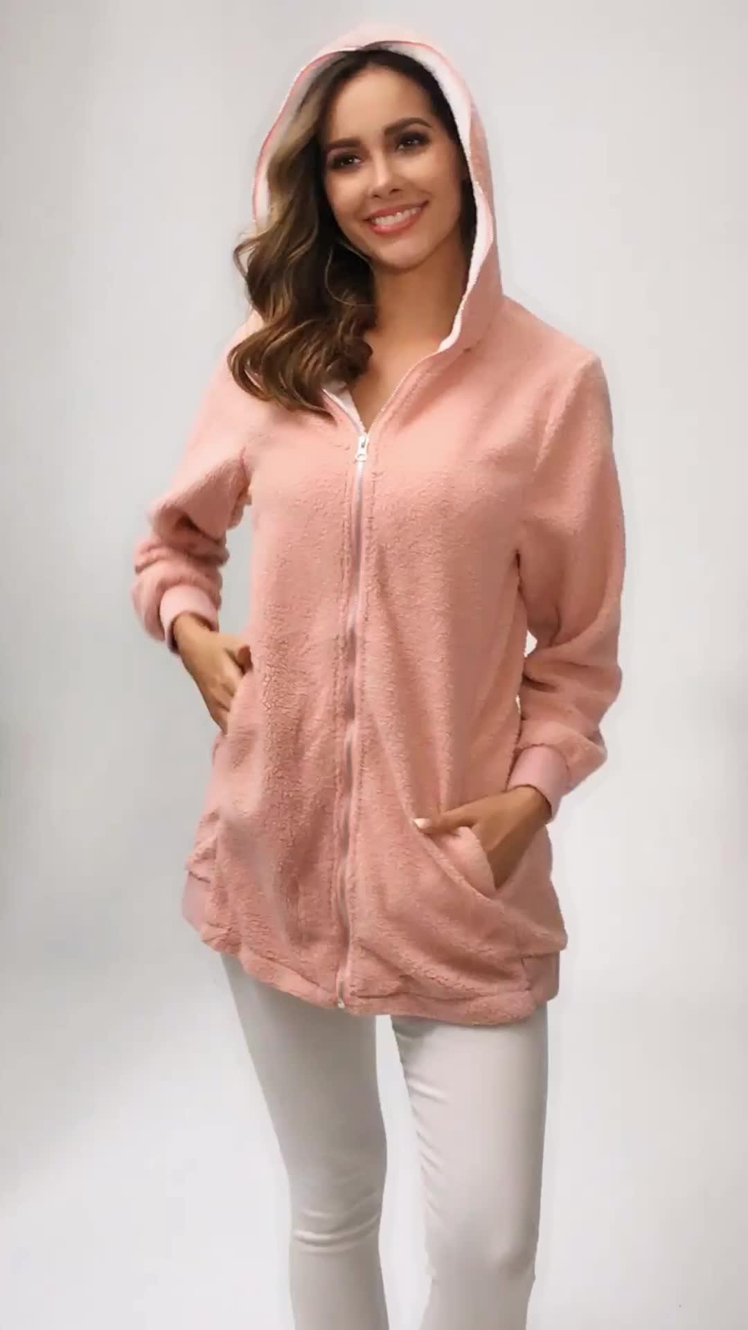 Dame hiver fourrure manteau nouveau style sweat à capuche en laine polaire chaude veste pour femme hiver femme manteau agneau