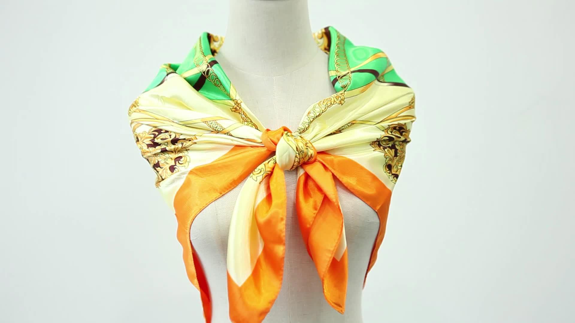 Amazon best seller stock custom square head wrap satin silk scarf