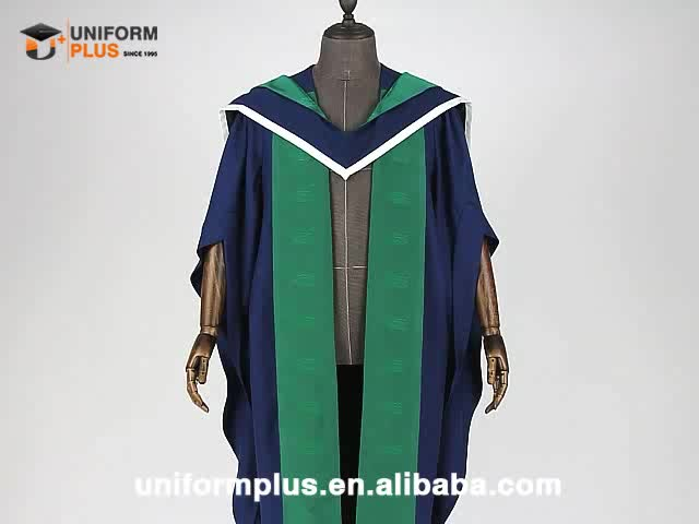 Customized Insead logo embroidery PhD graduation gown