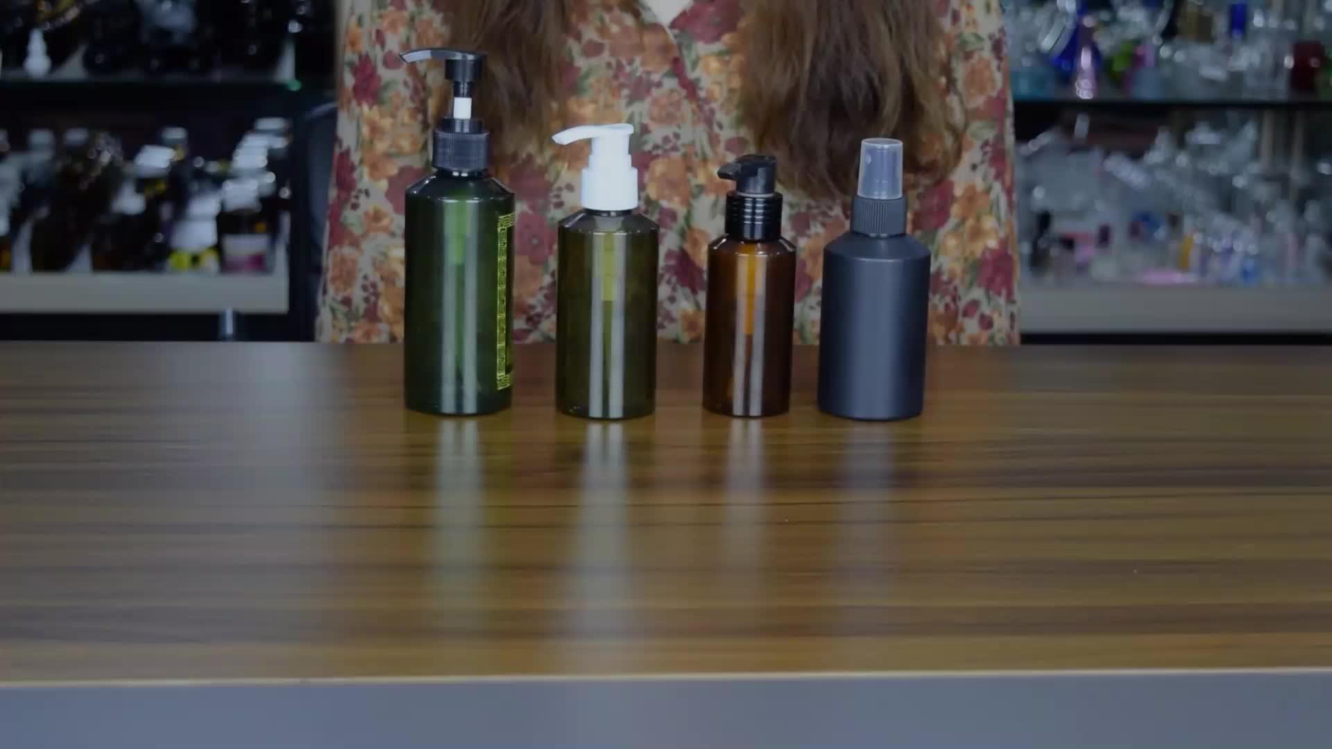 100ml 150ml 200ml pet en plastique emballage cosmétique bouteilles en plastique ambre