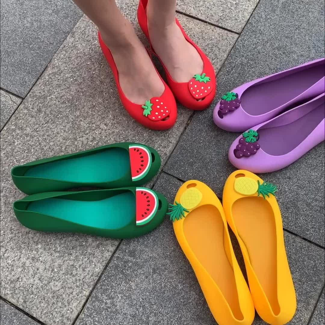 Ladies Flat PVC Fruit Sandals New Fashion Women Summer Jelly Shoes