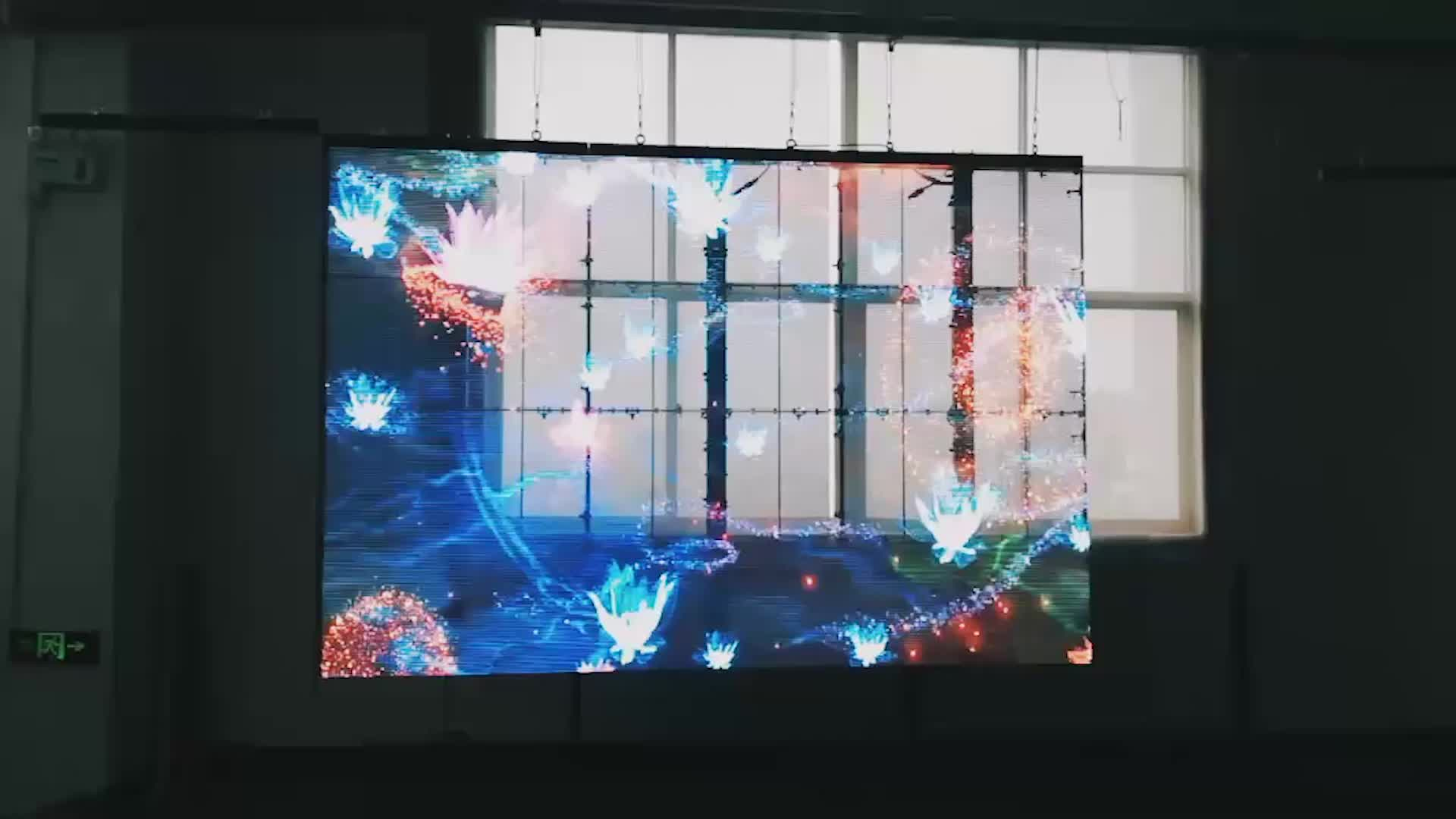 Outdoor mesh Full color rental led video screen fixed transparent P7 glass LED Display
