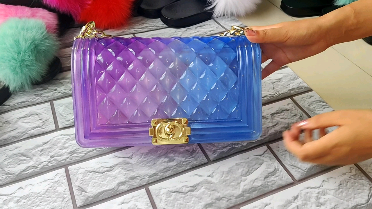 2020  Summer Factory wholesale colorful  pvc neon chain jelly purses women rainbow colors jelly bags
