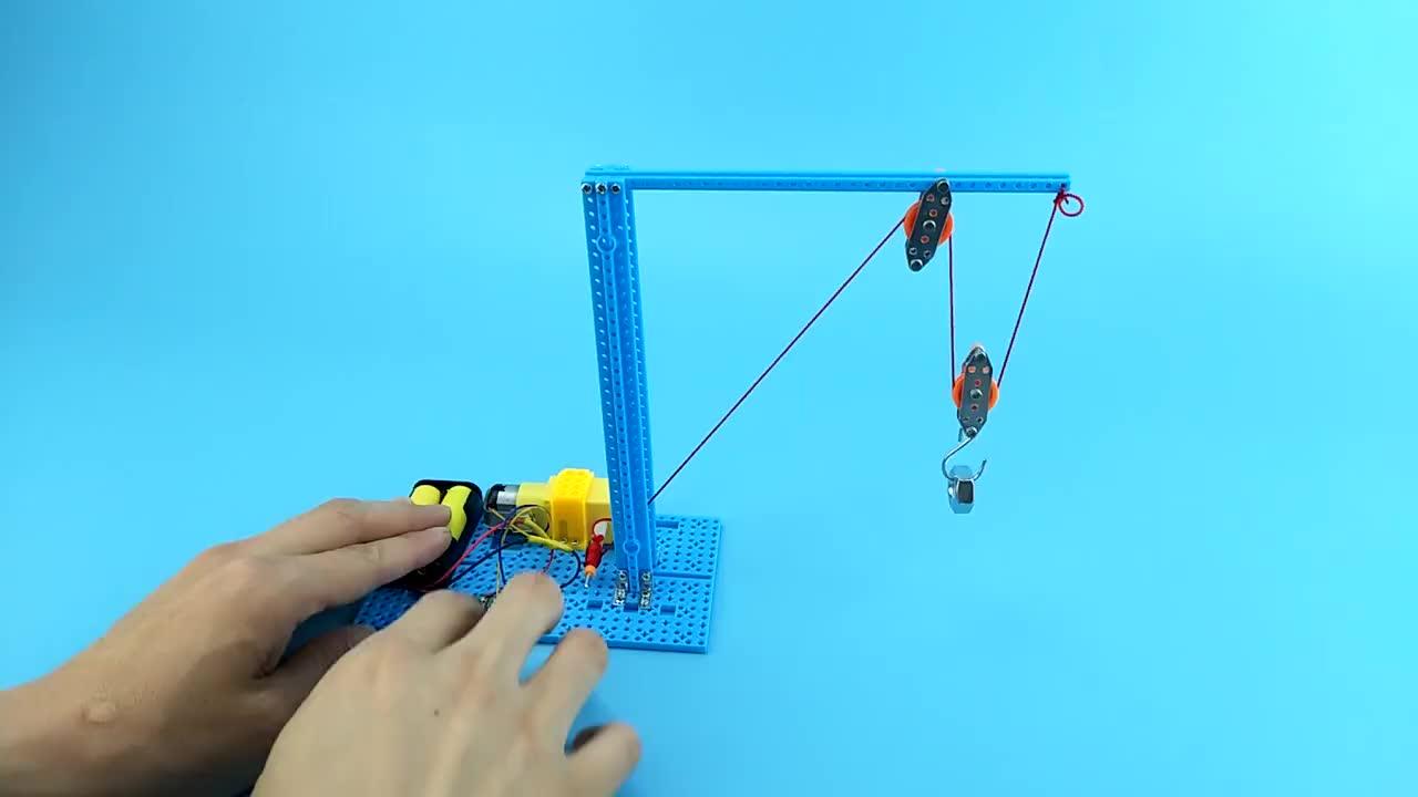 DIY pulley block crane physical intelligent educational scientific toys