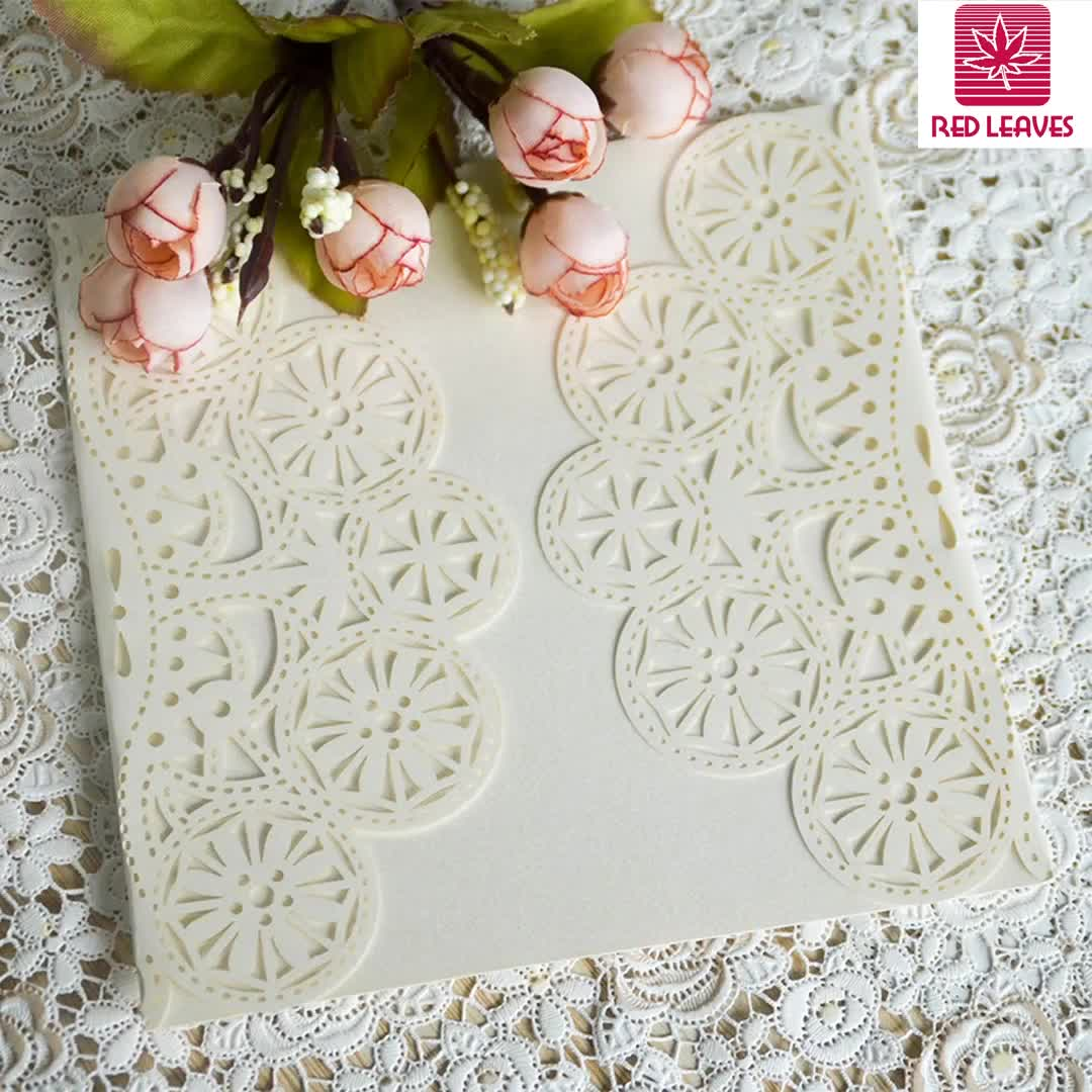 Elegant wedding card invitation laser cut get you romantic